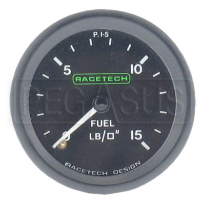 Large photo of Racetech 15psi Fuel Pressure Gauge, Pegasus Part No. 1090-Size