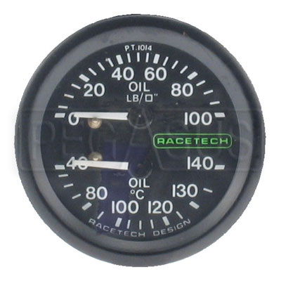 Large photo of Racetech Dual 100psi Oil Pressure/140 C Oil Temperature, Pegasus Part No. 1095-Size