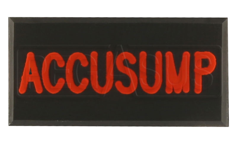 Large photo of Dash Badge Identification Plate (Accusump), Pegasus Part No. 1100-ACCUSUMP