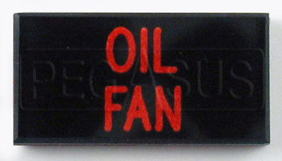 Large photo of Dash Badge Identification Plate (Oil Fan), Pegasus Part No. 1100-OILFAN