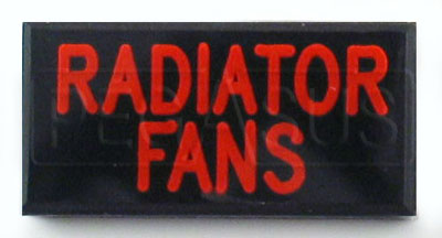 Large photo of Dash Badge Identification Plate (Radiator Fans), Pegasus Part No. 1100-RADFAN
