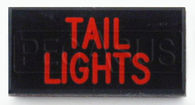 Large photo of Dash Badge Identification Plate (Tail Lights), Pegasus Part No. 1100-TAILLIGHTS