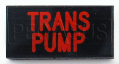 Large photo of Dash Badge Identification Plate (Trans Pump), Pegasus Part No. 1100-TRANSPUMP
