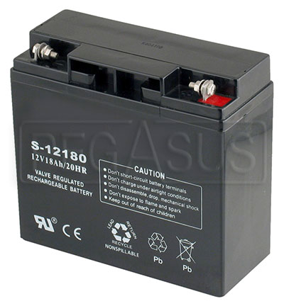 Large photo of (B) 18 AH Sealed Racing Battery, Pegasus Part No. 1170