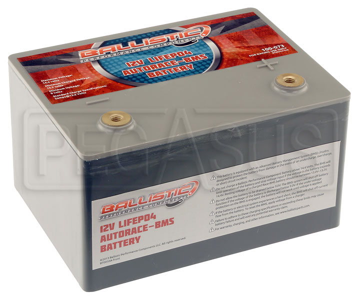 Large photo of (LI) Ballistic 12v LiFePO4 AutoRace Battery w/ Internal BMS, Pegasus Part No. 1178-220