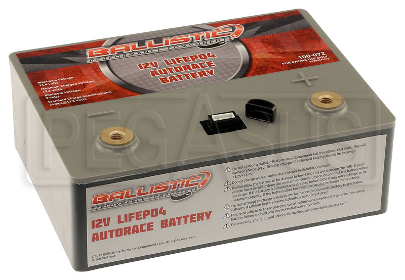 Large photo of (LI) Ballistic 12-Volt LiFePO4 AutoRace Battery, Pegasus Part No. 1178-221