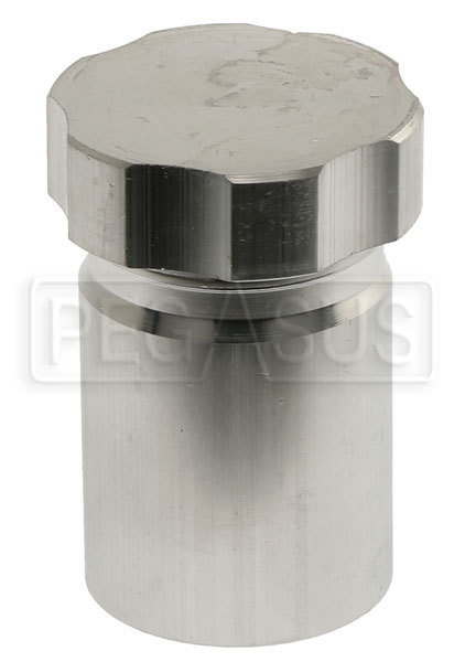 Large photo of OBP Weld-On Aluminum Filler Neck with Cap, 50mm OD, Pegasus Part No. 1256-260