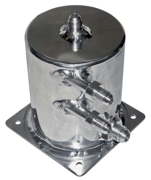 "Large photo of Fuel Scavenge Tank, Polished, 5.5"" H x 4"" D Base Mount, Pegasus Part No. 1256-322"