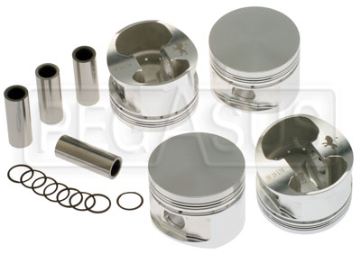 Large photo of 2 Liter Ford Forged CP Piston Set with Wrist Pins and Clips, Pegasus Part No. 171-16-FORGED