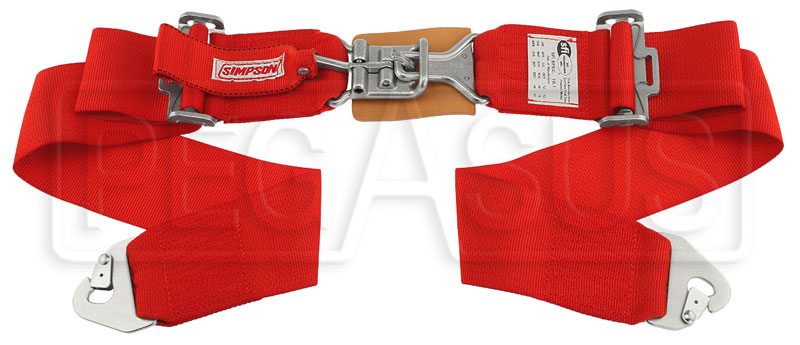 "Large photo of Latch & Link Lap Belt, Snap-in Pull Down 27-55"" Red Old Date, Pegasus Part No. CL239-11-RED-DATE"