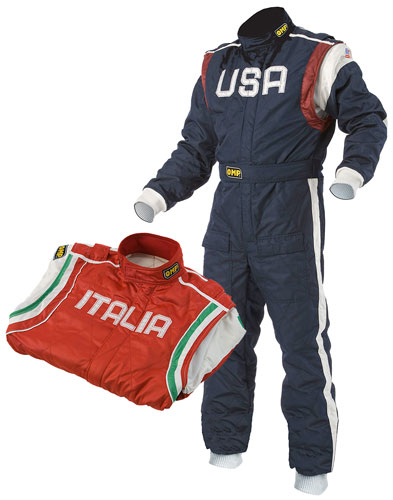 Large photo of OMP Defender Suit, 2 Layer Nomex, FIA 8856-2000, Pegasus Part No. 2629-Size-Design