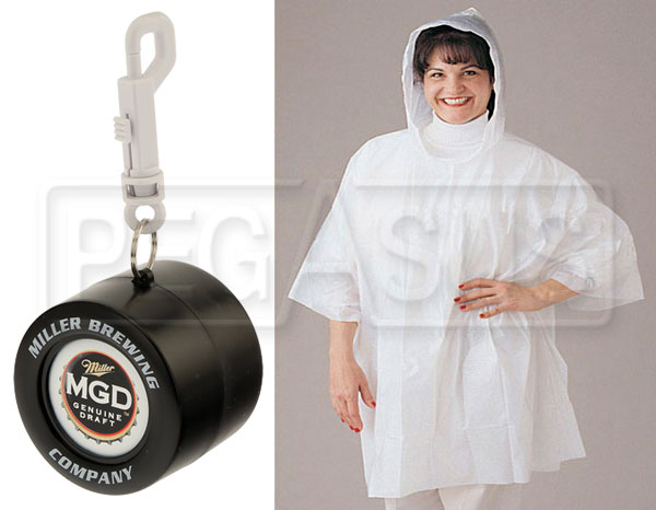 Large photo of MGD Rain Poncho in Racing Tire Container, with Clip, Pegasus Part No. 2814-005