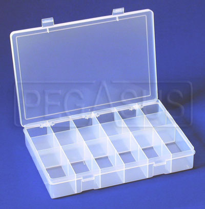 Large photo of Large Plastic Organizer Box, 18 compartments, Pegasus Part No. 2990