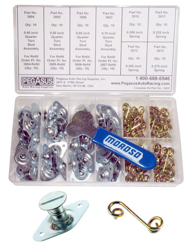 Large photo of 82 Piece Self-Eject 1/4-Turn 5/16 Dia Fastener Trackside Kit, Pegasus Part No. 3025