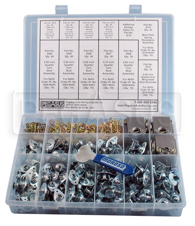 "Large photo of 412 Piece Self-Eject 1/4 Turn 5/16"" Fastener Constructor Kit, Pegasus Part No. 3026"