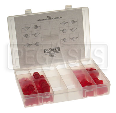 Large photo of 125 Piece Plastic AN Cap and Plug Kit, Pegasus Part No. 3027
