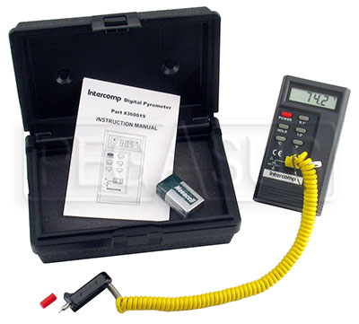 Large photo of Intercomp Digital Tire Pyrometer with Case, Pegasus Part No. 3183
