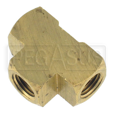 Large photo of Female Tee Fitting, 1/4 NPT  Brass, Pegasus Part No. 3213