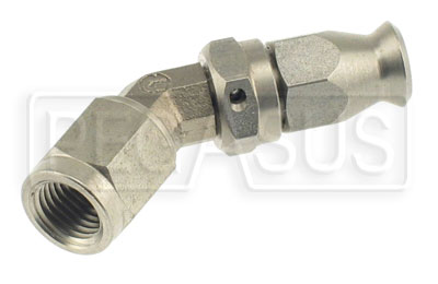 Large photo of Forged Stainless 45 degree 3AN Hose End for -3 PTFE Hose, Pegasus Part No. 3264-3-45
