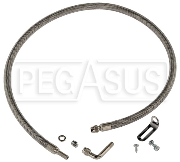"Large photo of Spare Tire Inflation System, 36"" SS Hose (Under Chassis), Pegasus Part No. 3333-002"