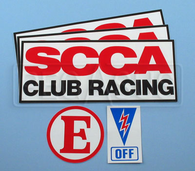 Large photo of SCCA 5-Piece Club Racing Decal Package, Pegasus Part No. 3355