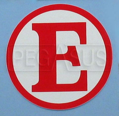 Large photo of SCCA  Red E  Decal for Fire Extinguisher, Pegasus Part No. 3357