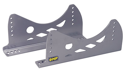 Large photo of OMP Aluminum Side-Mount Seat Brackets, Low, Silver, FIA, Pegasus Part No. 3444-007