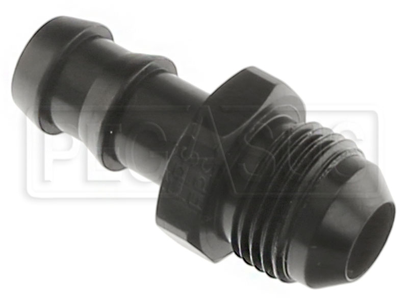 Large photo of AN841 Black Aluminum Hose Barb to AN Male Adapter, Pegasus Part No. 3497-002-Size