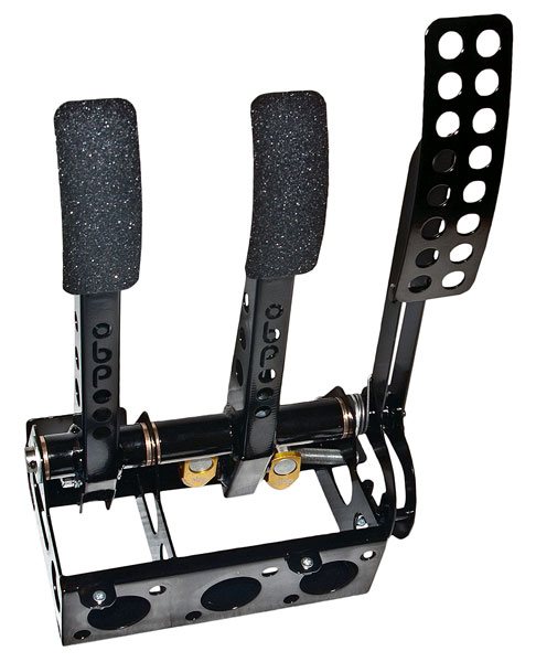 Large photo of OBP Pro-Race Cockpit Floor Mount 3-Pedal Assembly, w/o MC, Pegasus Part No. 3537-011