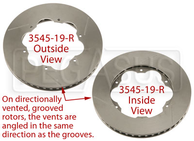 Large photo of Brake Rotor, Lola S2000, Directionally Vented, Grooved, Pegasus Part No. 3545-19-Side