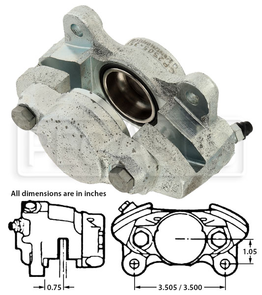 "Large photo of AP Lockheed LD19 Caliper (FF), 1.625"" Pistons, RH or LH, Pegasus Part No. 3585"