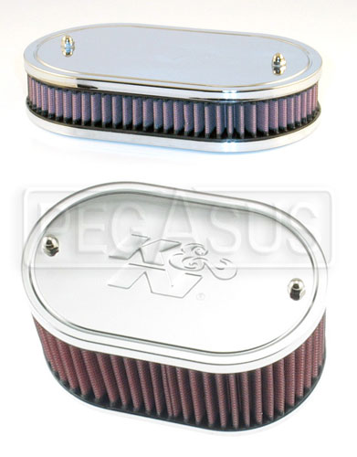 Large photo of K&N Air Filter, Weber 32/36 DGV, DGAV, DGEV, - 4.5 x 7 Oval, Pegasus Part No. 3812-Size