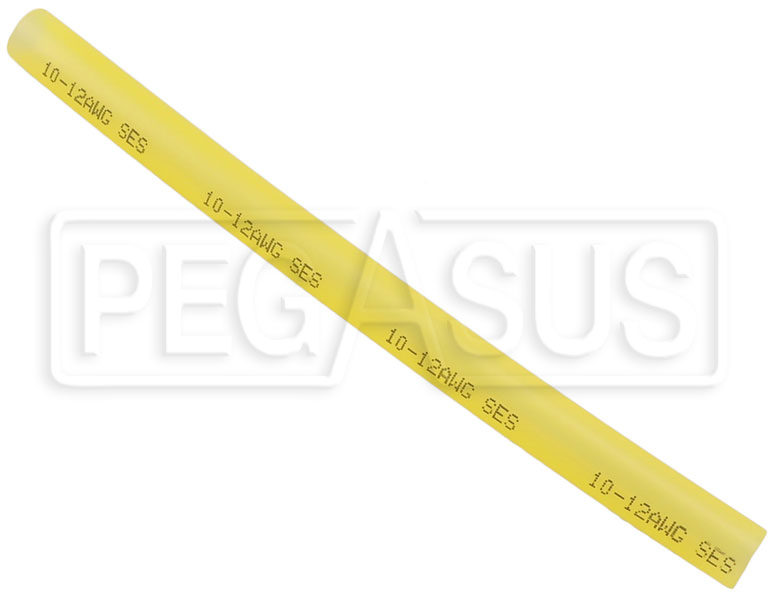 "Large photo of 6"" Adhesive Heat Shrink Tube, 12-10 Ga Translucent Yellow, Pegasus Part No. 4027-006"