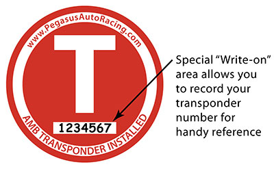 Large photo of Transponder Location Decal, 3 inch dia with Write-On Space, Pegasus Part No. 5001-001