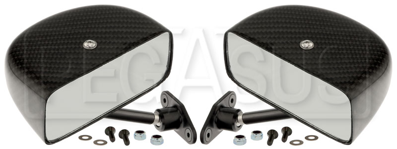Large photo of Club Series Rectangular Flat Mirrors, Carbon Fiber, Pair, Pegasus Part No. 5168-112