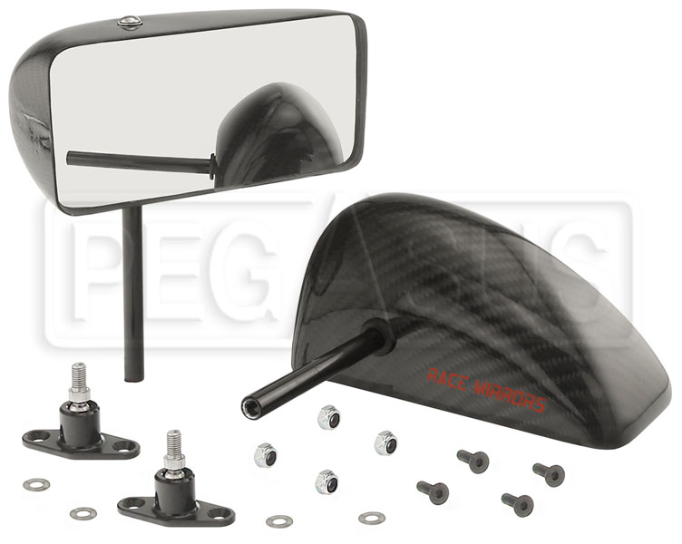 Large photo of CIS GT Series Convex Mirror, Straight Stem, Carbon Fiber, Pr, Pegasus Part No. 5168-132