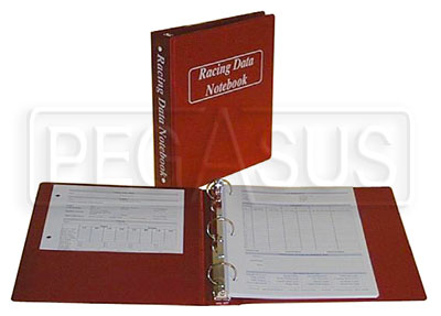 Large photo of Racing Data Notebook, Deluxe Version, Pegasus Part No. 5205-Size