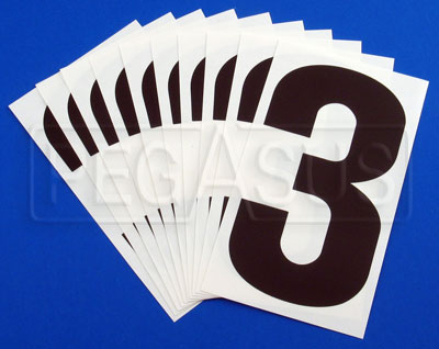"Large photo of 6"" Vinyl Kart Numbers, (pkg 10) specify color & number, Pegasus Part No. 9882-Color-Number"