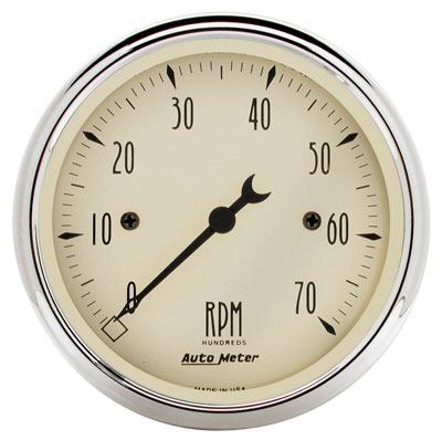 "Large photo of Auto Meter 3-1/8"" Tachometer- 7K RPM, Antique Beige, Pegasus Part No. AM1898"