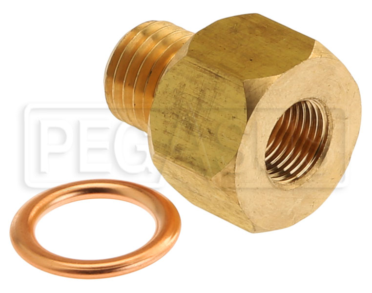 Large photo of 1/8 NPT Female to M12x1.5 Male Pressure Gauge Adapter, Brass, Pegasus Part No. AM2277