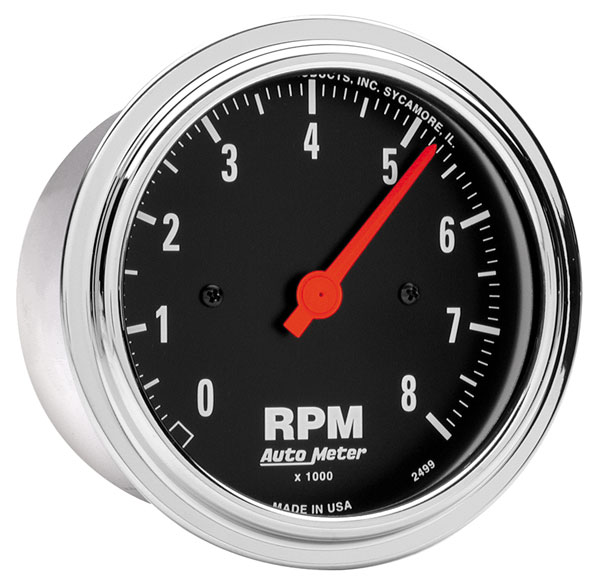 "Large photo of 3-3/8"" In-Dash Tachometer, 8,000 RPM, Traditional Chrome, Pegasus Part No. AM2499"