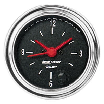 Large photo of Auto Meter 2 inch Clock, 12-volt, Traditional Chrome, Pegasus Part No. AM2585