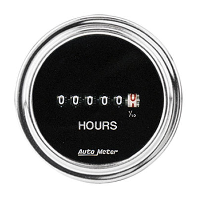 Large photo of Auto Meter 2 inch Hourmeter, 8 to 32 Volt, Chrome, Pegasus Part No. AM2587