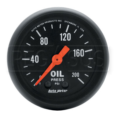 Large photo of Z Series 2 inch Oil Pressure Gauge, 200 psi, 6 foot, Pegasus Part No. AM2605