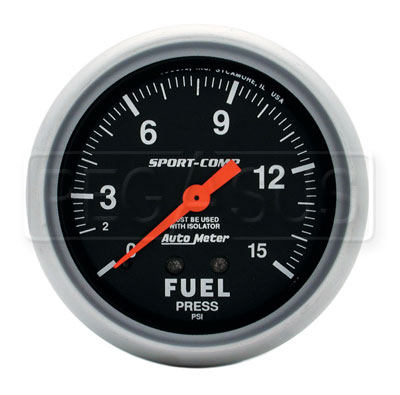 Large photo of Sport Comp 2 5/8 inch Fuel Pressure Gauge  W/Isolator, 15psi, Pegasus Part No. AM3413