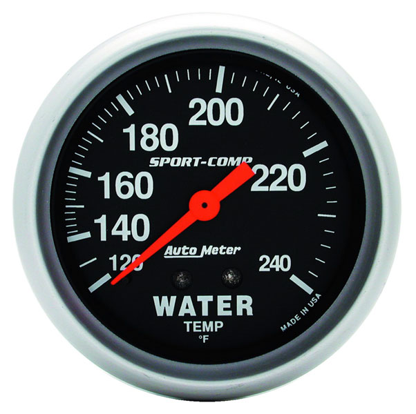 Large photo of Sport Comp 2 5/8 inch Water Temp Gauge, 120-240 degree, 6 ft, Pegasus Part No. AM3432