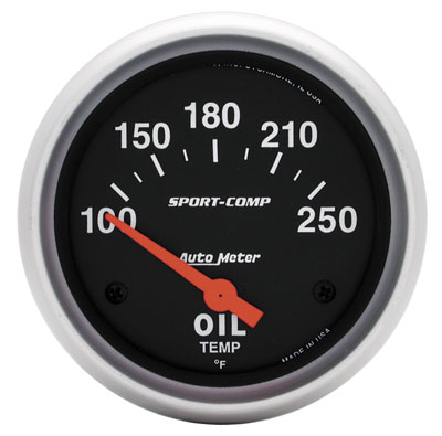 "Large photo of Sport Comp 2-5/8"" Oil Temp Gauge, 100- 250F, Electric, Pegasus Part No. AM3542"