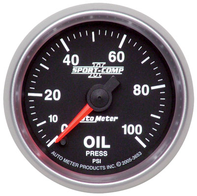 "Large photo of Sport Comp II 2 1/16"" Oil Pressure Gauge, 100psi, Electric, Pegasus Part No. AM3653"