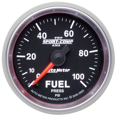 "Large photo of Sport Comp II 2 1/16"" Fuel Pressure Gauge, 100 psi, Electric, Pegasus Part No. AM3663"