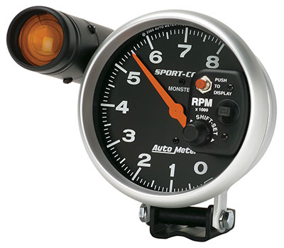 "Large photo of Sport-Comp 5"" Electric Tach, 8K w/ Shift Lite, Pegasus Part No. AM3905"